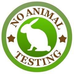 Grafik mit der Aufschrift No Animal Testing bzw. keine Tierversuche.